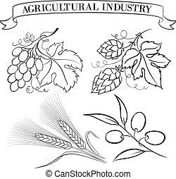 Set of emblems and labels. - Vintage beer emblems and label...