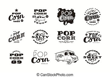 Set of emblems and logo for popcorn packaging