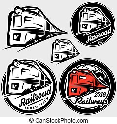 set of vector emblems in retro style with locomotives and railroad