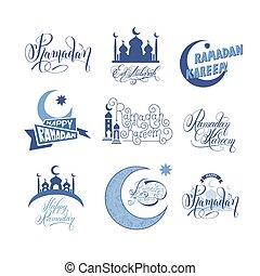 set of emblems to islamic holiday Ramadan Kareem with...