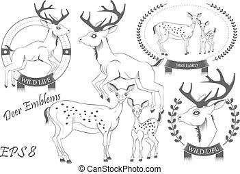 Set of emblems with deer vector