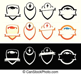 Set of Emblems with Electric Cars - Badges with Copy Space isolated on white, Vector Illustrations.