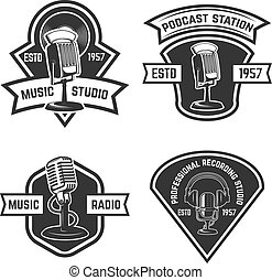 Set of  emblems with old style microphone isolated on white background. Design elements for logo, label, sign. Vector illustration