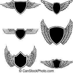 Set of emblems with wings isolated on white background. Design elements for logo, label, emblem, sign, badge. Vector illustration