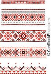 set of embroidered goods like handmade cross-stitch ethnic Ukraine pattern. Ukrainian national ornament decoration
