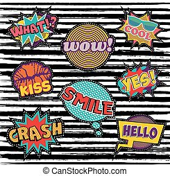 Set of embroidery text patch with pop art elements