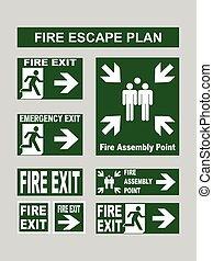 Set of emergency exit banners fire exit, emergency exit,...