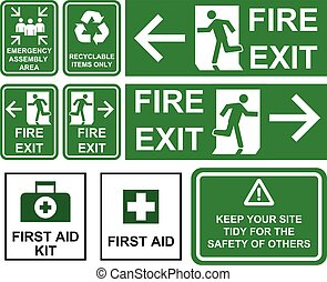 Set of emergency fire exit , emergency assembly area, first aid, recyclable items only green signs with different directions isolated.