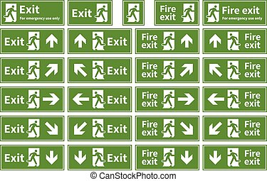 Set of emergency fire exit green signs with different directions on white