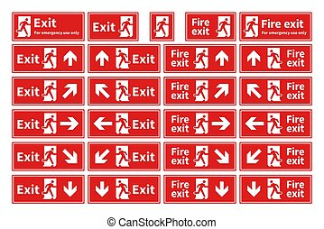Set of emergency fire exit red signs with different directions on white