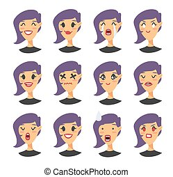 Set of emoji character. Cartoon style emotion icons. Isolated gothic girl avatars with different facial expressions. Flat illustration caucasian women's emotional faces. Hand drawn vector emoticon