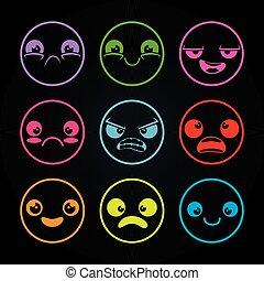 set of emoji emoticon cartoon