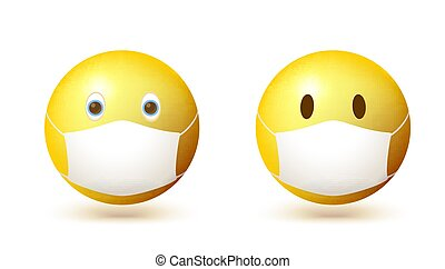 Set of emoji emoticon with medical mask on face. Vector 3d illustration isolated on white background