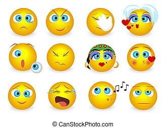 Set of Emoji emoticons face icons isolated. Vector illustration