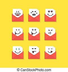 set of emoji messages in letters