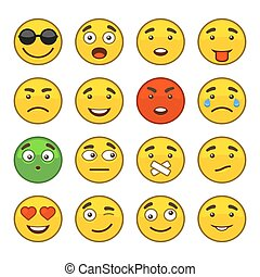 Set of Emoji Smile Icons Set. Vector