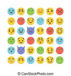 Set of emoticons. Cute emoji icons. Flat design. Kawaii