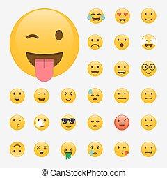 Set of Emoticons. Emoji flat design, avatar design. Vector illustration isolated on white background.
