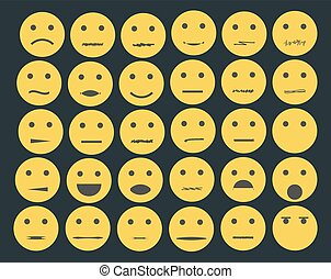 Set of emoticons, emoji isolated on white background