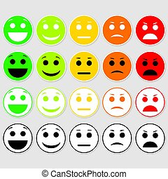 Set of Emoticons. Emoji level, rank, load.