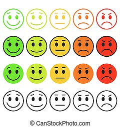 Set of Emoticons. Emoji rank, level, load. Excellent, good,...