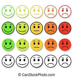 Set of Emoticons. Emoji rank, level