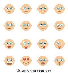 Set of Emoticons, Emoji. Smile icons. Isolated vector