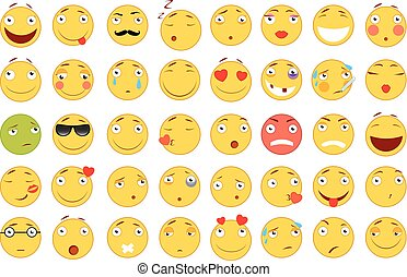 Set of Emoticons. Set of Emoji. Flat style illustrations. Vector file for your web design. White background.