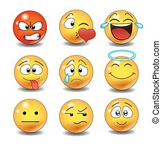 Set of Emoticons. Set of Emoji. Isolated vector illustration...