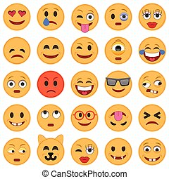 Set of Emoticons. Set of Emoji. Smile icons. Isolated vector...