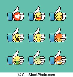 Set of Emoticons, thumb up symbol with Emoji smiley faces, vector illustration.