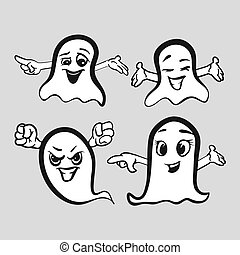 Set of emotional ghosts with hands. Sketched by hand. Party ...