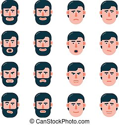 Set of emotions of the man face in flat style