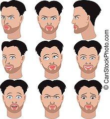 Set of emotions of the same man - Set of variation of...