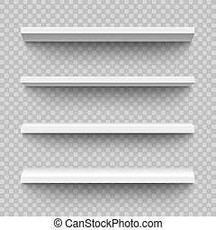 Set of empty and blank realistic 3d white shop shelf, retail...
