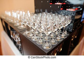 Set of empty and elegant wine glasses