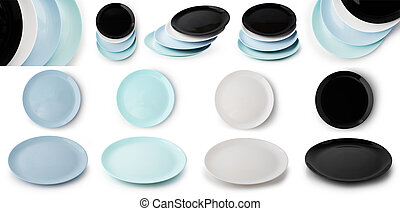 Set of empty flat plates different color, top and side view and plates in stack isolated on white background.