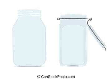 Set of Empty glass jars. Isolated on white background