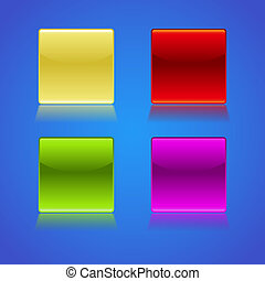 Set of empty glossy buttons - illustration