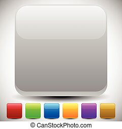 Set of empty glossy square buttons, square icons. Vector.