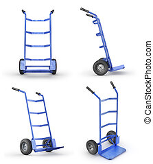 Set of empty hand truck in front view isolation on a white background. 3d illustration