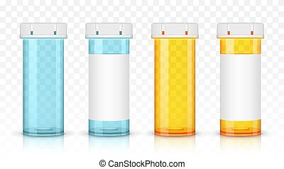 Set of empty prescription medicine bottles. Isolated on transparent background.