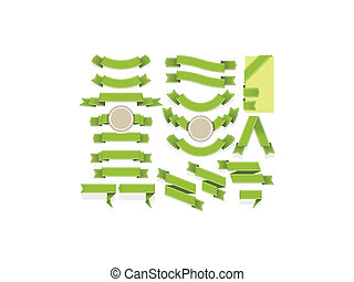 Set of empty ribbons and banners of