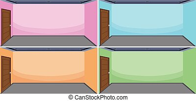 Set of empty room different color