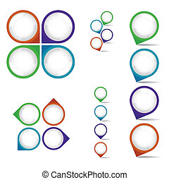 set of empty rounded multicolor pointers - isolated illustration