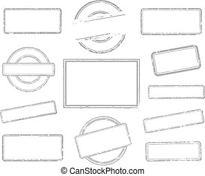 Set of empty rubber stamps
