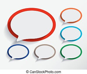 Set of empty six speech information bubbles for design.