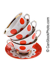 set of empty teacup - object on white - set of empty teacup