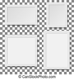 Set of empty white picture frames. Vector paper frame isolated on white