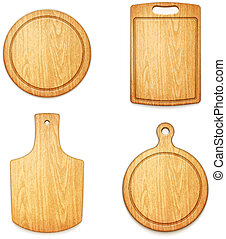 set of empty wooden cutting boards on white background eps10...
